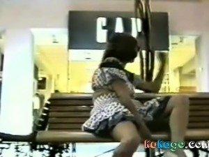 Wife Tries Flashing Pussy In Public Place On Bench