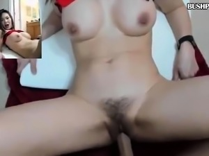 Sexy petite shave Asian fucks dildo close up on webcam