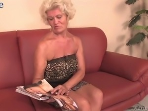 Wrinkled mature whore with huge fake boobs Franscina rides firm cock on top