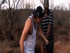 Two guys bang cute African chick