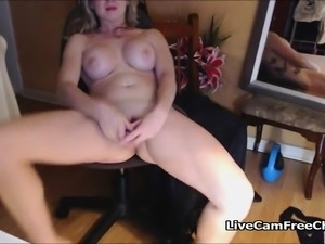 Blonde Babe with Blue Eyes Masturbating at Home