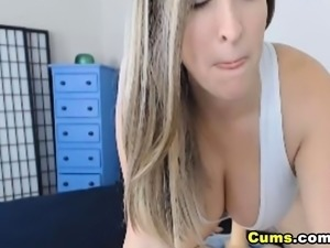 Huge Tits Blonde Rides Her Big Dildo