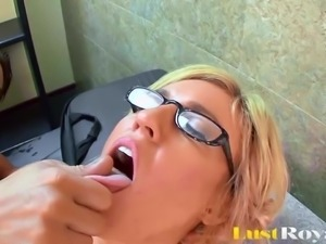 Slutty Blonde Secretary Does Her Boss On First Day Of Work