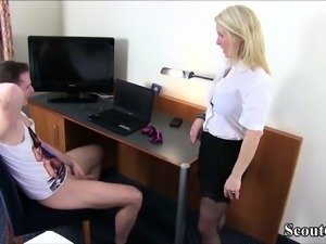 German Mom Caught Step-Son Jerk and Help him with Fuck
