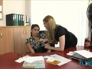 Nerdy busty brunette boss gets lured by naughty secretary for lesbian sex