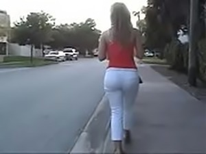 Hot College Blond in White Pants