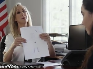 MILF Teacher Brandi Love Licked by Lez Student in Office
