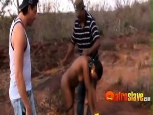 African cookie in bondage pleasing two dudes to get food