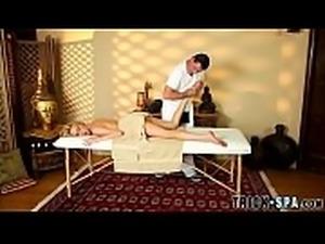 Teen sucks masseur for jizz
