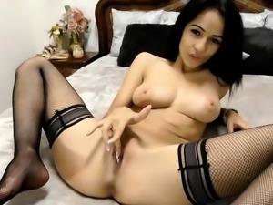 Tight black big natural boobs girl on webcam