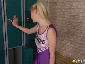 Likable pigtailed cheerleader Gracie spreads legs to rub her clit just a bit