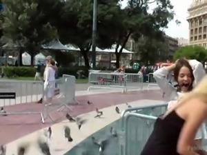 Buxom Spanish slut Nati Mellow gets tied up and fucked on public