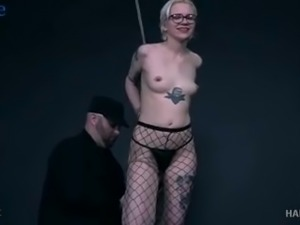 Real harlot in fishnet stockings Jane gets masturbated with a prepared sex toy