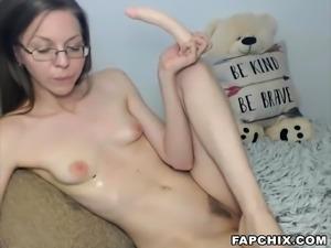 Sexy Skinny Whore Sucks Dildo So Beautifully