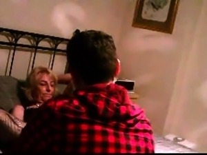 Horny mature wife in stockings gets fucked by a young stud
