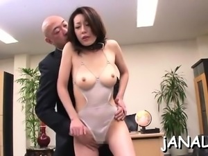 Precious japanese babe uses dick for own anal pleasures