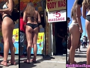 Amazing thong round asses beach bikini babes voyeur spy