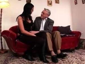 Attractive brunette with glasses gets fucked by an older man