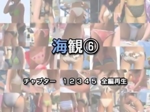 Beach voyeur follows lovely Japanese girls in sexy bikinis