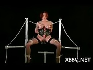 Intense woman pussy sadomasochism with tit bondage scenes