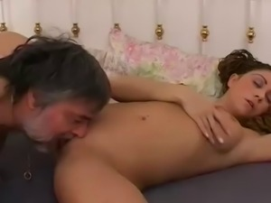 She brings an older man home for some fun