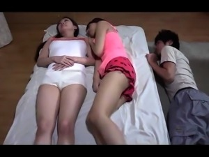 Petite Japanese teen getting fucked while her sister sleeps