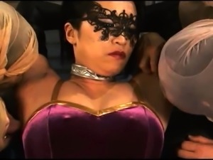 Alluring Oriental girls in costume get used by kinky guys