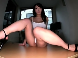 Buxom Japanese nympho with sexy legs gets fed a hard cock