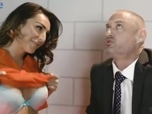 Buxom transsexual prisoner Chanel Santini gives her lawyer titjob