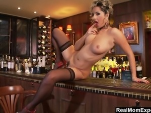 Glamorous MILF Masturbates At The Bar