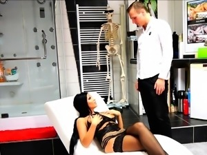 german latina fake tits hooker punished by doctor with anal