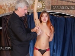 Crying young redhead brutally punished during casting