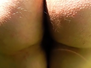 Licking hairy mature's ass