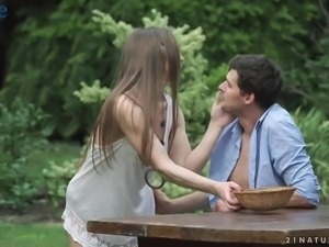 Lovely long haired gal Nicole Pearl gets tight ass fucked outdoors