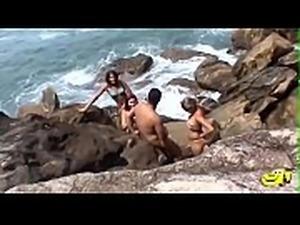 Orgia beira Mar com Paquita_ Marcelle_ Hugostoz&atilde_o e a esposa