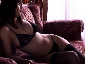 Buxom Asian babe in stockings takes control of a meat pole