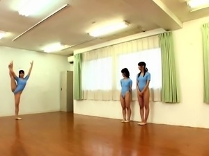 Slender Japanese ballerinas feed their lust for cock and cum
