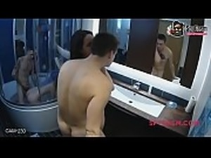Hot and steamy group orgy in the bathroom