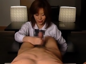Enticing Japanese milf in stockings gets pounded by two guys