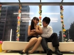 Elegant Japanese lady gets stuffed with hard meat in public