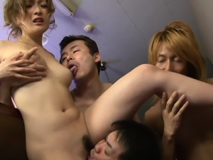 Japanese Aiko Nagai is having her first orgy uncensored