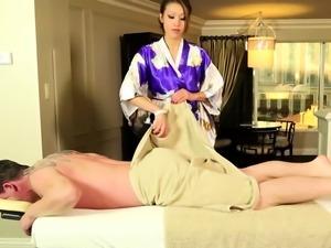 Busty asian masseuse tugs