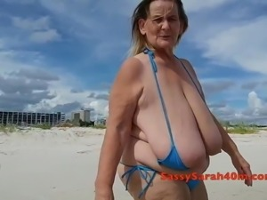 Sarah's saggy tits at the seaside