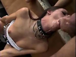 Handjob in a bra stockings and garter belt