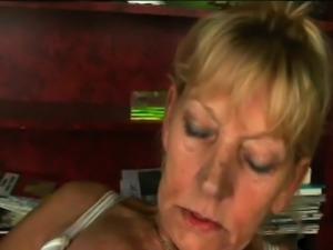 Skinny granny spreads her cheeks to fuck