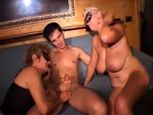 Huge boobs mature milf Bianka threesome with young couple
