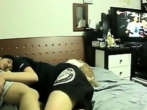 Exciting Asian teen with a lovely ass sucks and rides a cock