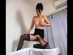 Solo asian hoe toys her pussy