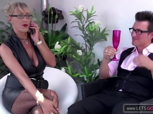 Blond German Milf Fucks a Guy with her Nylons