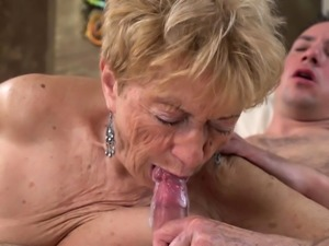 Busty wrinkled old lady